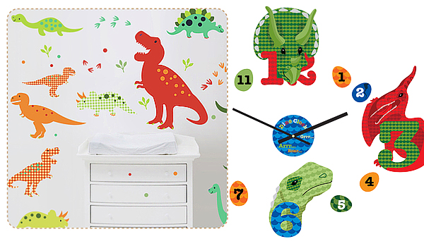 Dino Fun and Dino Clock Fabric Wall Stickers