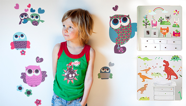 Owls, Rainbow Toys, Dino Fun wall stickers by Jillian Phillips for Chocovenyl