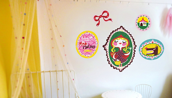 Red Riding Hood fabric wall stickers by Helen Dardik