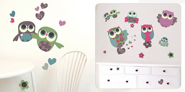 Owls Fabric Wall Stickers by Jillian Phillips for Chocovenyl