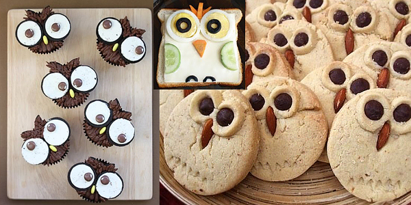 Owls cupcakes, owl sandwich and owls cookies inspiration