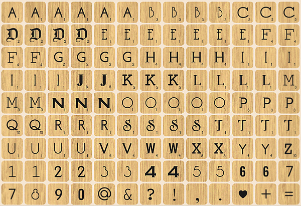 Scrabble Fabric wall stickers, wood design