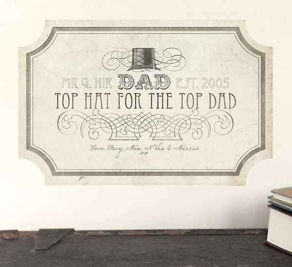 Top Hat Wall Sticker by Chocovenyl for Fathers Day